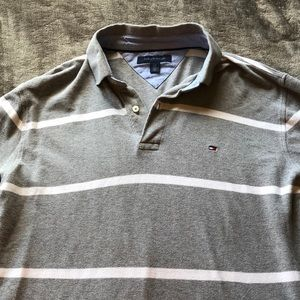 LG gray&white striped Tommy Hilfiger collared top